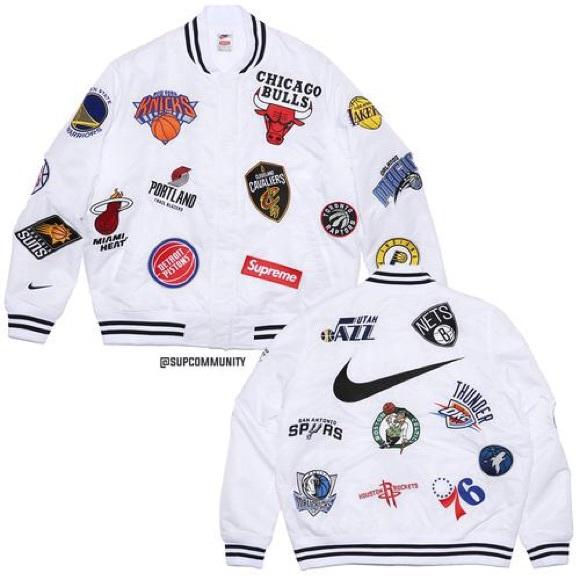 acd6ed4015eb Supreme NBA Nike White Warm Up Jacket